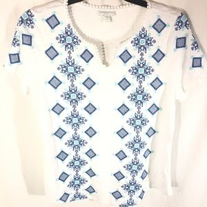 Charter Club Top Plus Size 0X NEW Needlepoint Slub